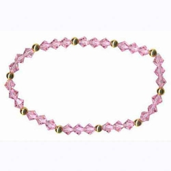 Pink Swarovski Elements & 18K Gold over Sterling Silver Stretch Bracelet