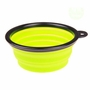 Portable Silicone Pets Bowls Dogs Cats Bowls Pet Supplies Dog Accessories- Green