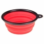 Portable Silicone Pets Bowls Dogs Cats Bowls Pet Supplies Dog Accessories- Red
