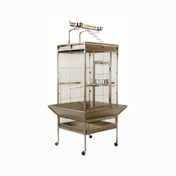 Prevue Hendryx Medium Wrought Iron Select Bird Cage With Long Lasting Rubber Easy Rolling Casters With Cage Stand, Color - Sage Green