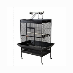 Prevue Hendryx Select Wrought Iron Play Top Parrot Cage / House With Rubber Caster, Color - Coco Brown
