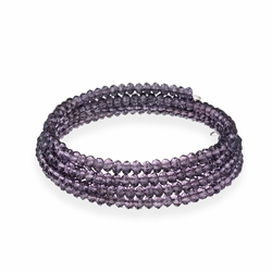 Purple Glass Bead Coil Bracelet
