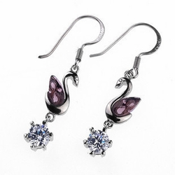 Purple Zirconiumium Crystal Swan Earrings Hook Styled Earrings for Women