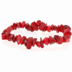 Red Genuine Sea Bamboo Coral Chip Stretch Bracelet