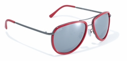 Red Rimmed Aviator Style Sunglasses by Swag