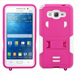 Samsung Galaxy Grand Prime SM-G530 Impact Silicone Case Dual Layer with Stand Pink White