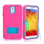 Samsung Galaxy Note 3 Impact Silicone Case Dual Layer with Stand Pink Teal