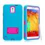 Samsung Galaxy Note 3 Impact Silicone Case Dual Layer with Stand Teal Pink