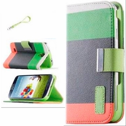 Samsung Galaxy S4 Hybrid Wallet Leather Case Flip Cover Green