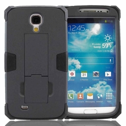 Samsung Galaxy S4 Impact Silicone Case Dual Layer with Stand Black