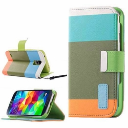 Samsung Galaxy S5 Hybrid Wallet Leather Case Flip Cover Teal