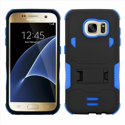 Samsung Galaxy S7 Edge Impact Silicone Case Dual Layer with Stand Blue
