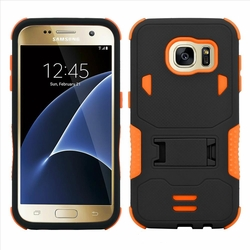 Samsung Galaxy S7 Edge Impact Silicone Case Dual Layer with Stand Orange