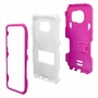 Samsung Galaxy S7 Edge Impact Silicone Case Dual Layer with Stand Pink White