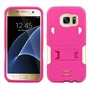 Samsung Galaxy S7 Impact Silicone Case Dual Layer with Stand Pink White