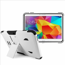 Samsung Galaxy Tab 4 10.1 Impact Silicone Case Dual Layer with Stand White Black