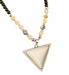 Set of 2 Fashion Costume Necklace Statement Necklace Triangle White