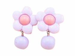 Set Of 2 Princess Earrings Lovely No Pierced Earrings Ear Clip Purple Flower