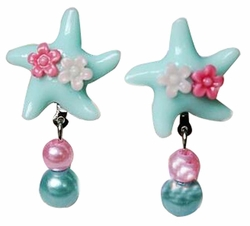 Set Of 3 Fancy Earrings No pierced Ear Clip Blue Starfish Earclip
