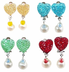 Set Of 4 Female Child Pendant Ear Clips No Pierced Earrings Random Color