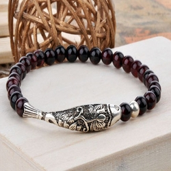 Silver Fish Bracelet for Mens or Women's Fashion Jewelry GARNET BRACELET -