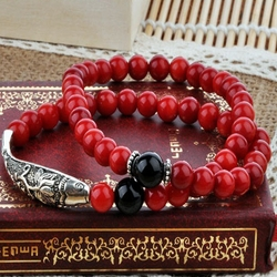 Silver Fish Bracelet for Mens or Women's Fashion Jewelry RED CORAL BRACELET -