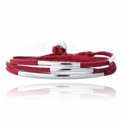 Silver Tone Bar & Red Suede Triple Wrap Bracelet