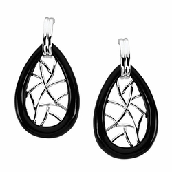 Special Shape Onyx Earrings in Sterling Silver - Butterfly Back - Nice