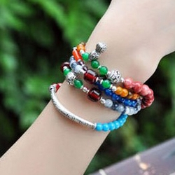 Stacked Colorful Crystal and Semi Precious Stones Bracelet -