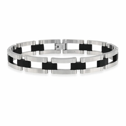 Stainless Steel and Rubber Bike Chain Men's Link Bracelet