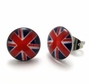 Stainless Steel British Flag Stud Earrings