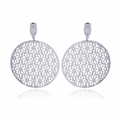 Stainless Steel Flower Dangle Earrings  Ladies Jewelry  567-sse00006 -