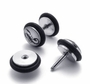 Stainless Steel Scorpion Fake Plugs Earrings-Color White