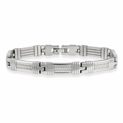 Stainless Steel Textured Rectangular Men's Link Bracelet