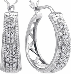 Sterling Silver 0.09CTW-DIA FASHION EARRINGS - Earrings