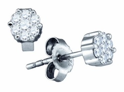 Sterling Silver 0.15CTW DIAMOND FLOWER EARRINGS - Earrings