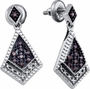 Sterling Silver 0.19CTW COGNAC DIAMOND LADIES  MICRO PAVE EARRINGS - Earrings