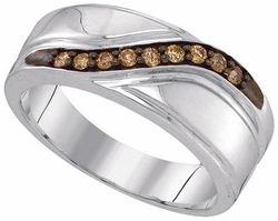 Sterling Silver 0.25CTW-DIA FASHION MENS BAND - Rings