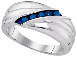 Sterling Silver 0.33CTW-BLUE DIA MENS RING - Rings