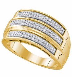 Sterling Silver 0.42CTW DIAMOND MICRO PAVE MENS BAND - Rings