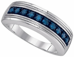 Sterling Silver 0.50CT-DIA MENS FASHION BAND - Rings