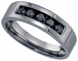 Sterling Silver 0.65CT-DIA FASHION MENS BAND - Rings