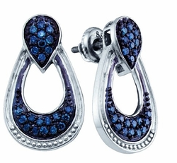 Sterling Silver 0.68CTW BLUE DIAMOND  FASHION EARRINGS - Earrings