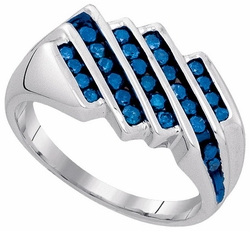Sterling Silver 0.75CT-BLUE DIA FASHION MENS BAND - Rings