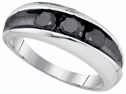 Sterling Silver 0.96CT-BLACK DIA MICRO-PAVE MENS BAND - Rings