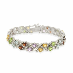 Sterling Silver 11.25ct TGW Multi Gemstone & Diamond Accent Estate Bracelet