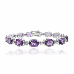 Sterling Silver 23ct. Amethyst & Diamond Accent Tennis Bracelet