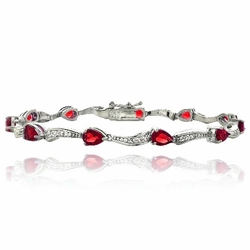 Sterling Silver 5.5ct Created Ruby & White Topaz Swirl Teardrop Bracelet