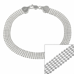 "Sterling Silver 6mm Multi Row Shotbead Chain Mesh Bracelet 7"" 8"""