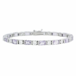 Sterling Silver 8.25 CT. TGW Genuine Amethyst and CZ Tennis Bracelet